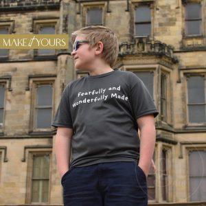 Fearfully | Kids Cool T-Shirt | Cool Grey | White Print | Go Tell Ltd