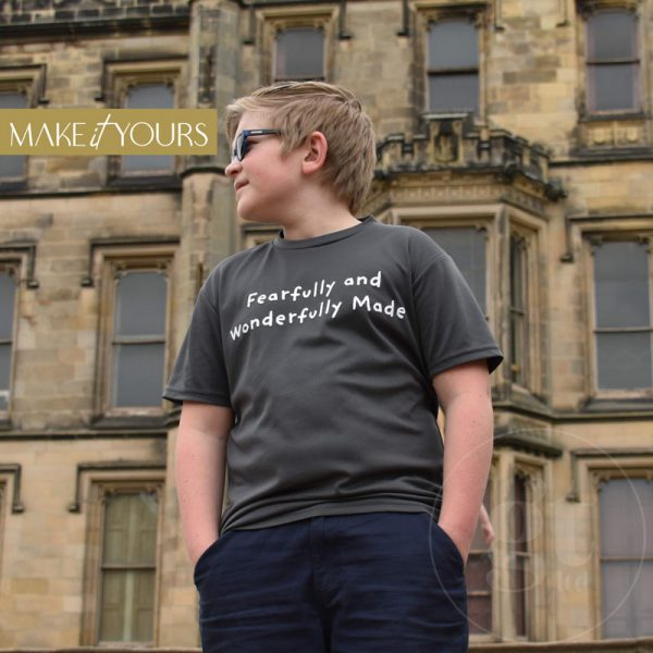 Fearfully   Kids Cool T-Shirt   Cool Grey   White Print   Go Tell Ltd