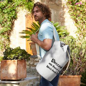 Wash Their Robes | EarthAware Organic Sea Bag | Natural | White Print | Go Tell Ltd