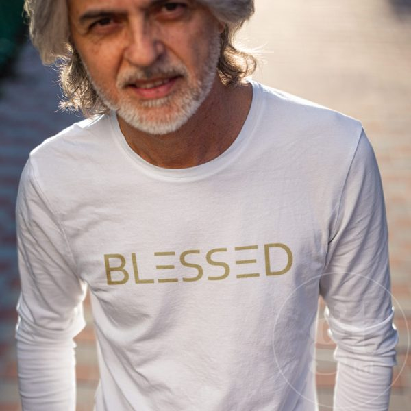 Blessed | Long sleeve tee | white | gold print