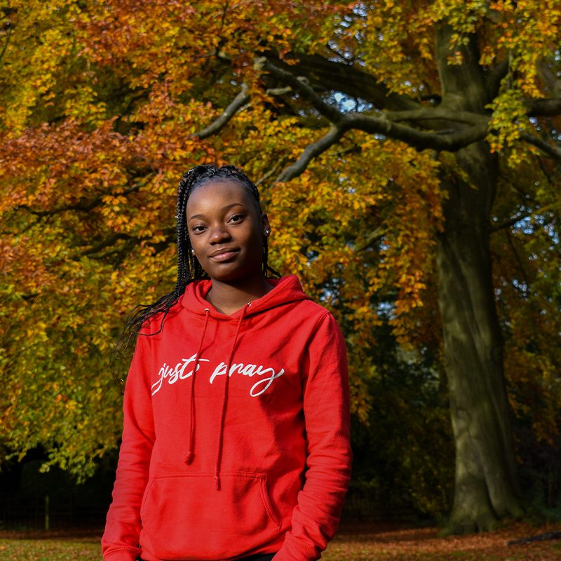 Just Pray | Girlie College Hoodie | Fire Red | www.go-tell.co.uk