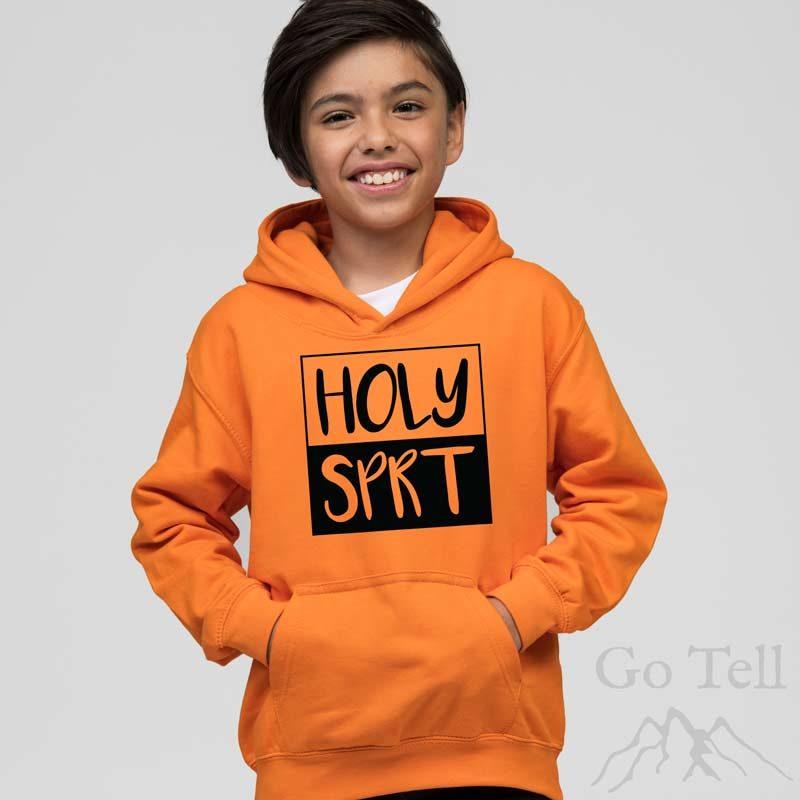 Holy Spirit | Kids Hoodie | Orange Crush | Black print