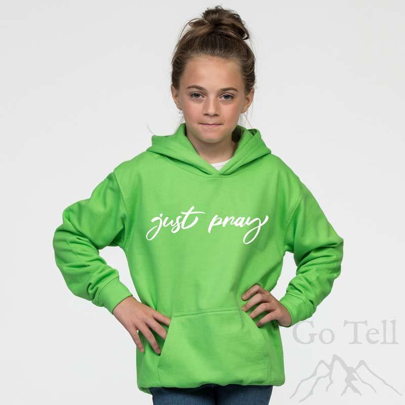 Just Pray | Kids Hoodie | Lime green | White print | Go Tell Ltd