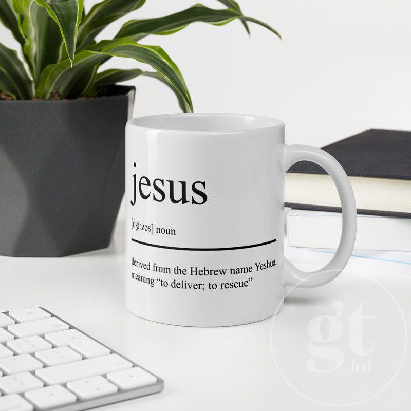 Jesus Noun   Printful Mug   Flat   Go Tell Ltd