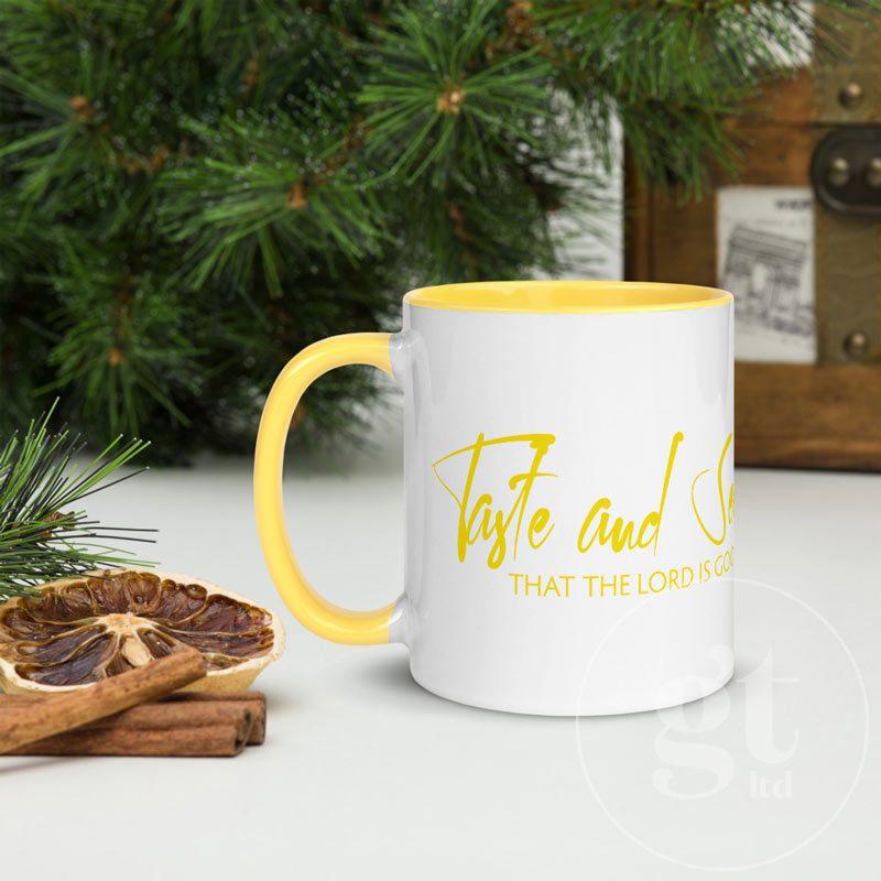 Taste and See   Printful Mug   Yellow   Go Tell Ltd