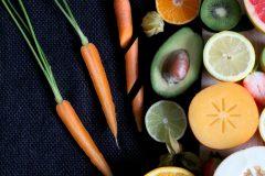 Forskellige grøntsager og frugter