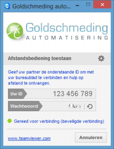 Goldschmeding Automatisering - Hulp op afstand - Teamviewer inlog scherm