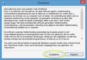 Goldschmeding Automatisering - Hulp op afstand - Accepteren voorwaarden
