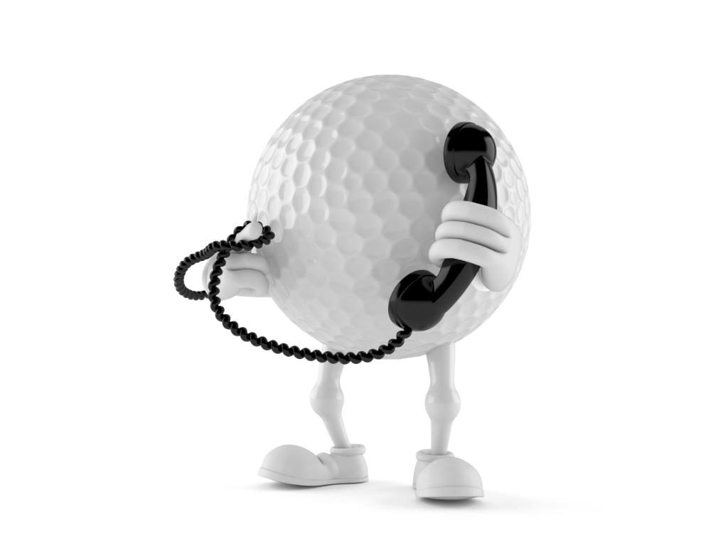 Golf ball character with handset