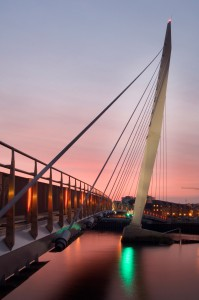Bridge to the SA1 development at Swansea marina.