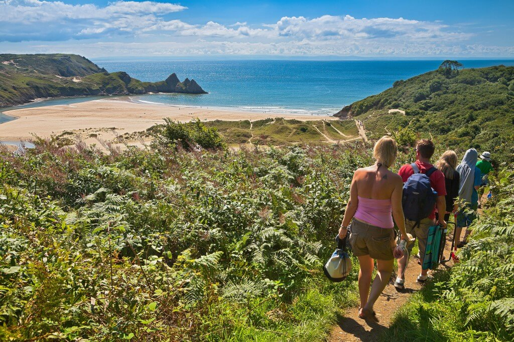 View from path leading to Three Cliffs Bay
