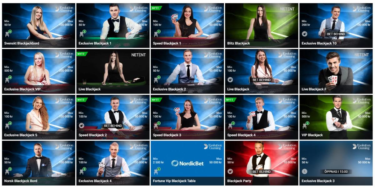 Nordicbet har bra blackjack