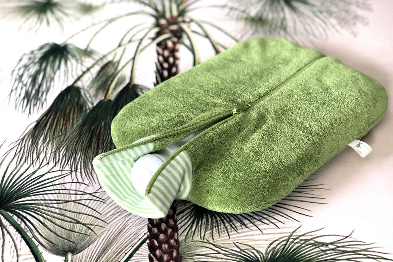 Öko-Wärmflasche mit Bio-Bezug in Kiwi-Grün