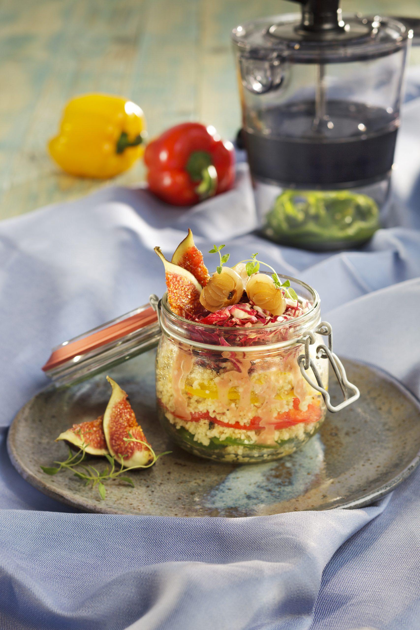 Festlich: Couscous-Paprika-Salat im Glas