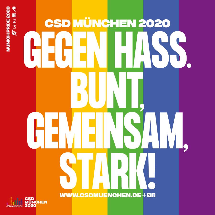Münchner CSD-Motto 2020: Gegen Hass. Bunt, gemeinsam, stark!