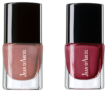 JEAN D'ARCEL nail color pearly rose No. 99 und JEAN D'ARCEL nail color light bordeaux