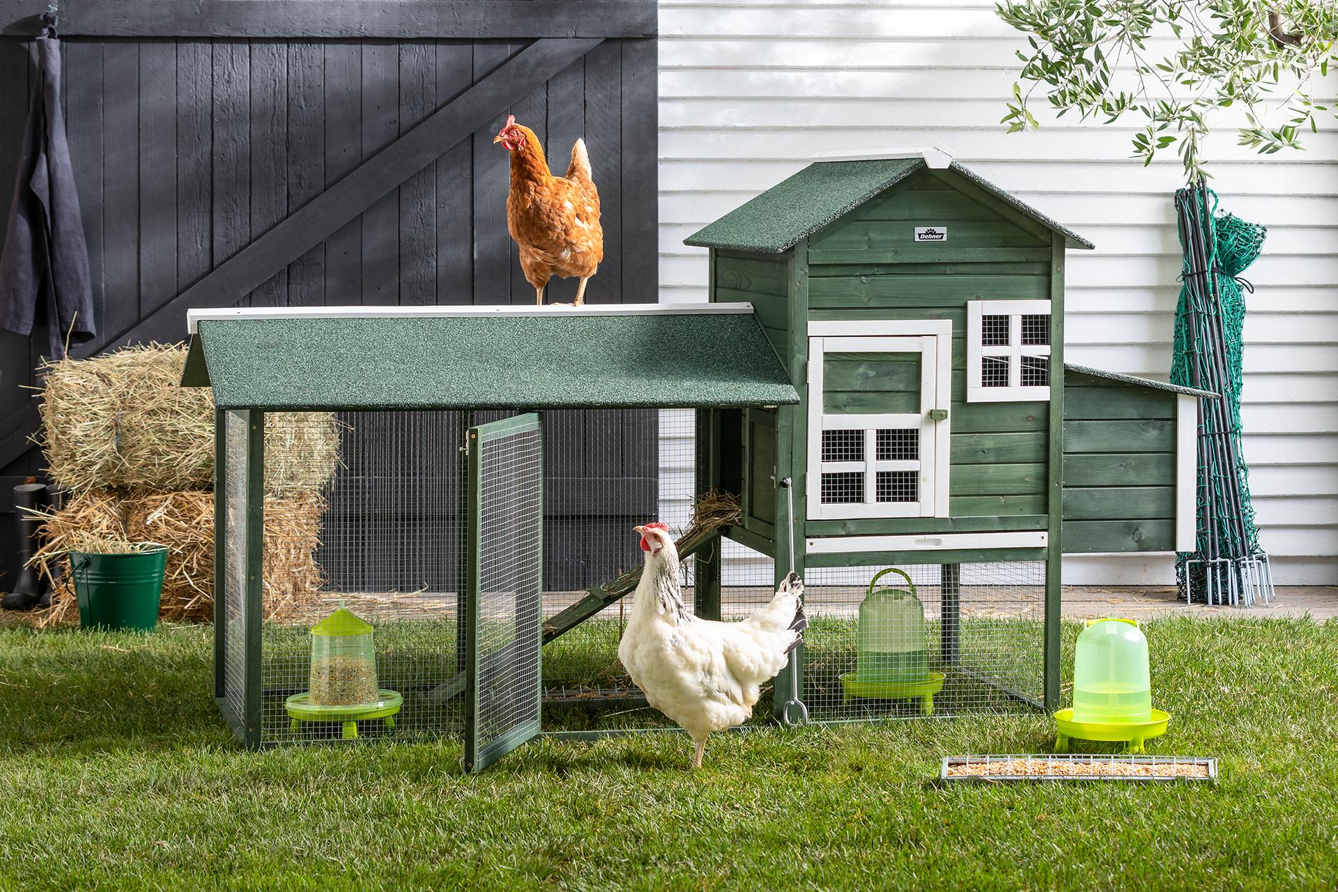 Den Dehner Hühnerstall Happy Hen gibt es auch in Hellbraun