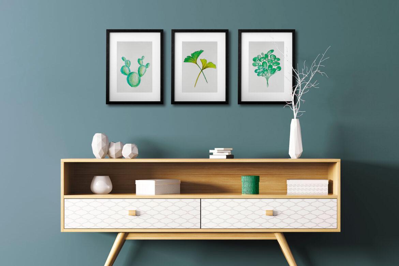 Wunderschöne Aquarelle mit Ginkgo, Pilea & Kaktus