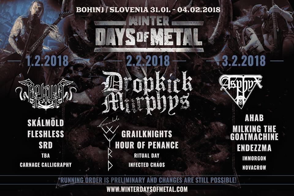 Winter Days of Metal 2018 Running Order