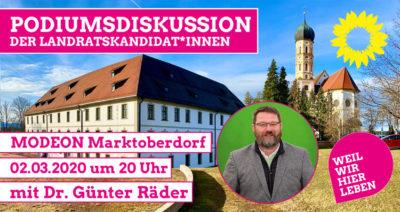 Podiumsdiskussion der Landratskandidaten Dr. Günter Räder Bündnis 90 / Die Grünen