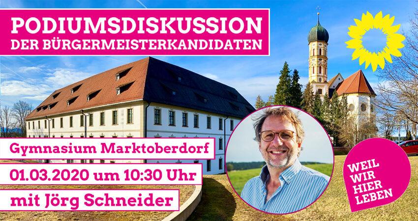 Podiumsdiskussion der Bürgermeister mit Jörg Schneider Bündnis 90 / Die Grünen Marktoberdorf