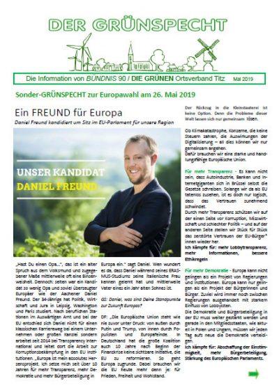 Deckblatt Grünspecht zur Europawahl 2019