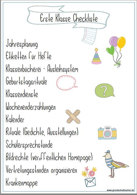 Checkliste für die Klassenleitung – Seite 2 ist auch online