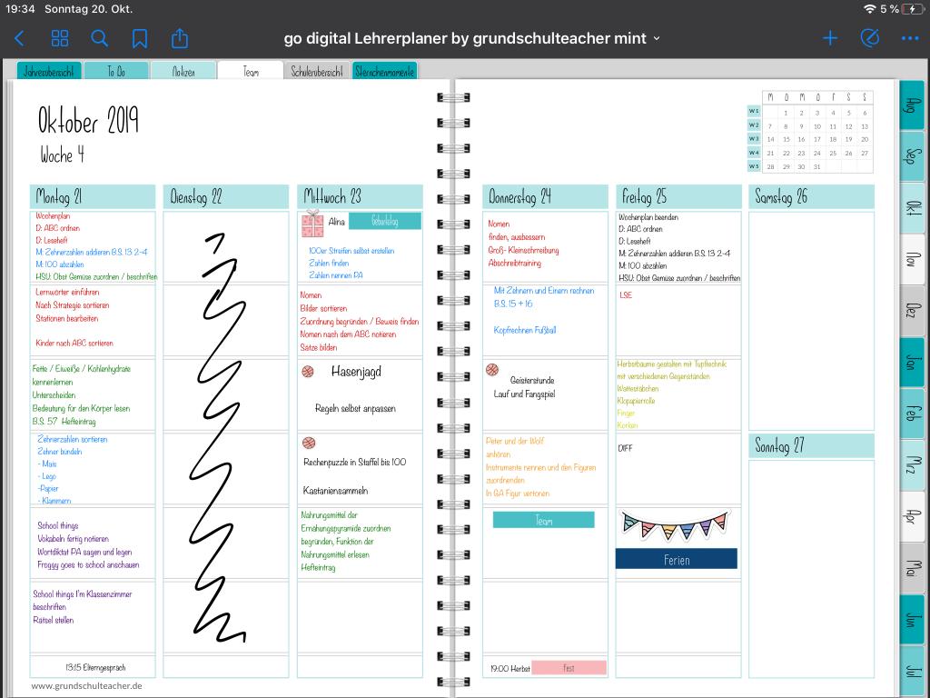go digital Lehrerplaner: Mit dem Textfeld schreiben und drucken