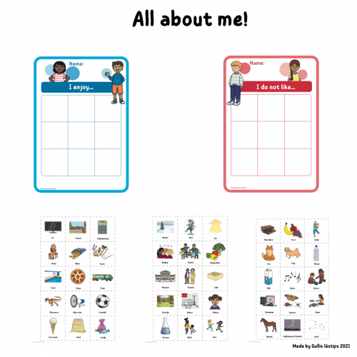 All about me - Like and Dislike sorting activity insta