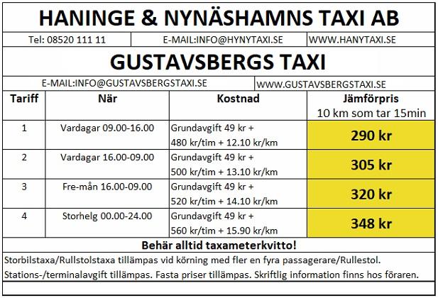 Tariff Gustavsbergs taxi