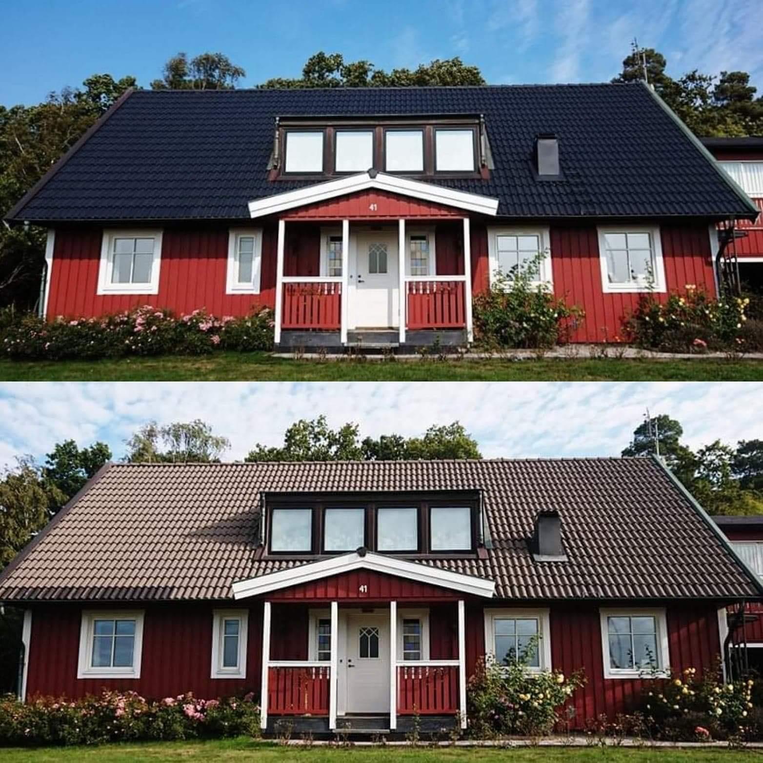 Villa före och efter takmålning