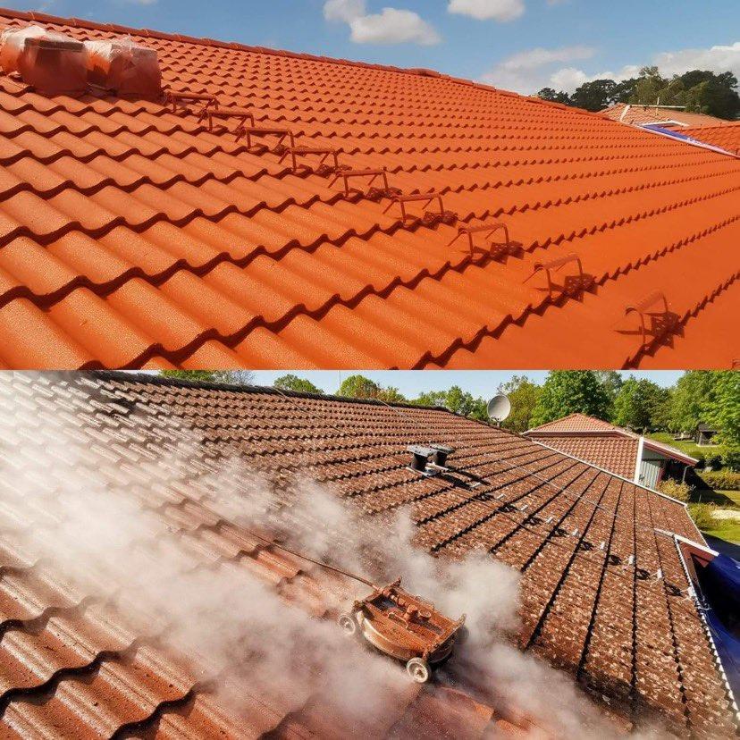 Tak före och efter taktvätt