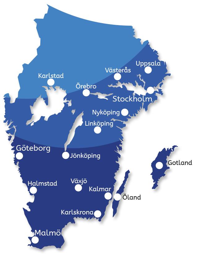 Karta med H20 Taktvätts områden i södra Sverige