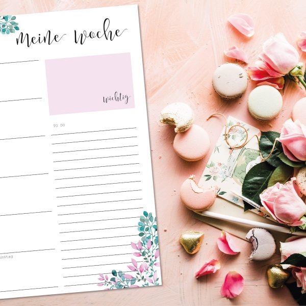 Wochenplaner kalender Geschenk Blumen