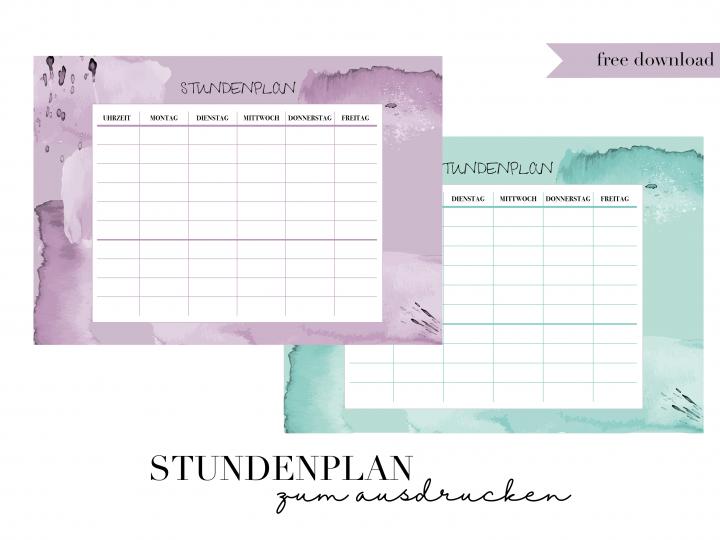 Stundenplan zum Ausdrucken | free download