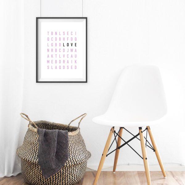 Poster modern Love Buchstaben Wanddekoration Geschenk