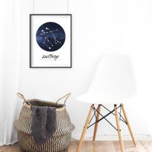 Sternzeichen Zwillinge Geschenk Deko Print