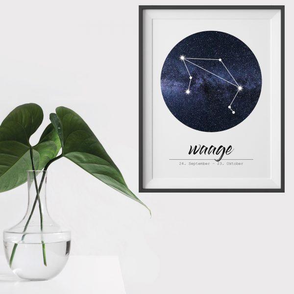 Poster Sternzeichen Waage geschenk wohnzimmer