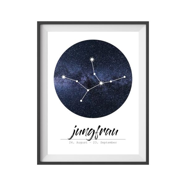 Poster Sternzeichen Jungfrau Print Geschenk Wohnzimmer