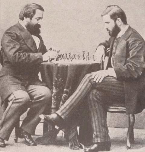 Ilia Chavchavadze och Ivane Machabeli i ett parti 1873
