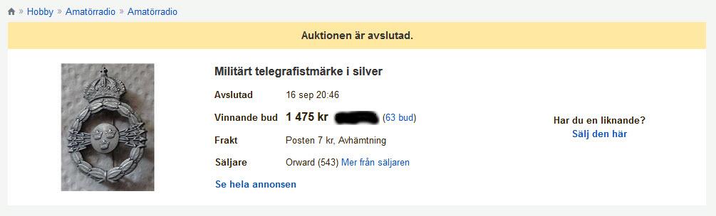 Tradera_Militärt silvermärke telegrafi_utan_callsign