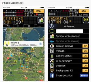 APRS Pro iPhone skärmdump