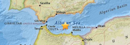 Jordbävning karta 2016-01-25