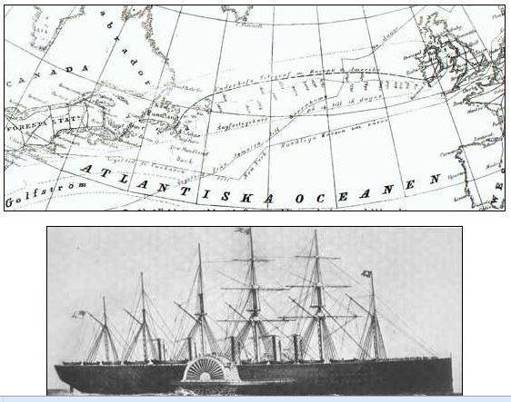 Utläggning av atlantkabel start 1858