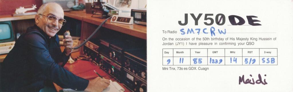 JY50 Kung Hussein QSL JY50DE_krympt_redigerad-1