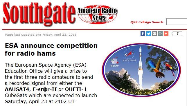 ESA tävling för radioamatörer