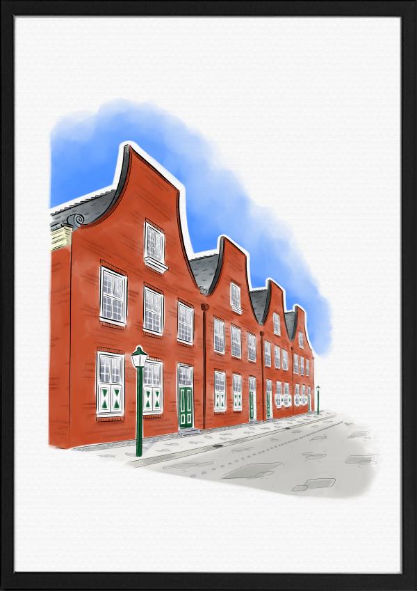Holländisches Viertel Potsdam Illustration Farbe | handundstift.de | Der Blog rund um Illustration in Serie