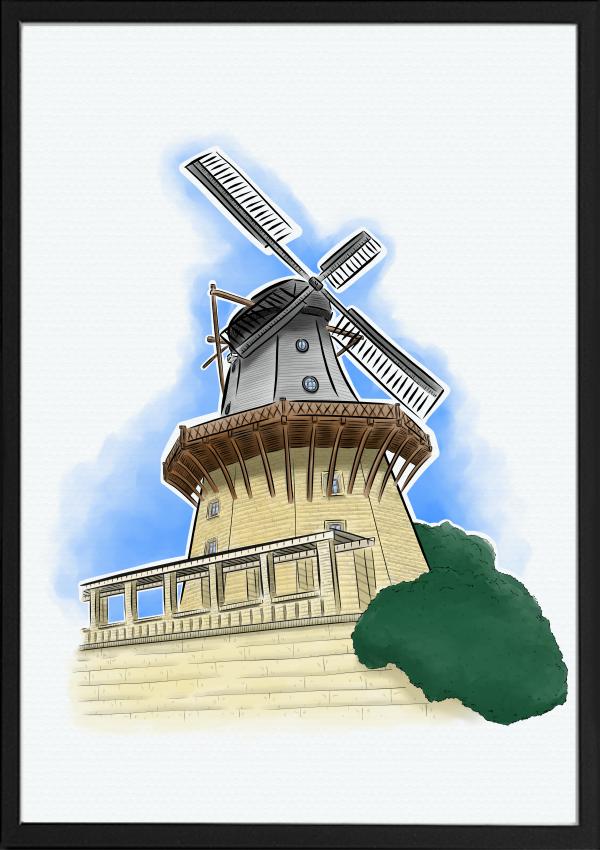 Historische Muehle Potsdam Illustration Farbe | handundstift.de | Der Blog rund um Illustration in Serie
