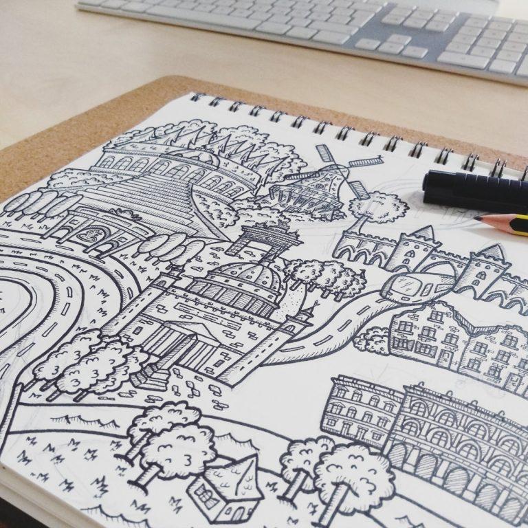 Teaserbild Vom Zeichenblock zum Zeichenbrett Illustration von Potsdam mit ikonisierten Wahrzeichen Potsdams - handundstift.de - Der Blog rund um Illustration rund um Illustration in Serie