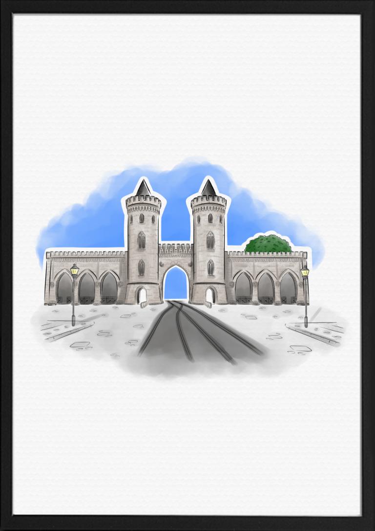 Nauener Tor Potsdam Illustration Farbe | handundstift.de | Der Blog rund um Illustration in Serie